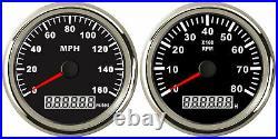 2 Gauge Set, 85MM GPS Speedo 160MPH Odometer + Tacho RPM8000 Pulse Signals Black