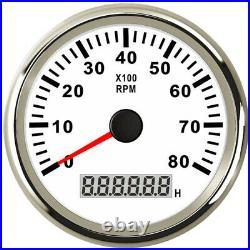 2 Gauge Set, 85MM GPS Speedo 160MPH Odometer + Tacho RPM8000 Pulse Signals White