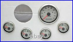 5 Gauge Set Electronic + Gps Speedo Sender White Hot Rod, Ford, Chev