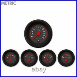 5 Gauge Set Speedo Water Oil Temp FuelVolt Omega Black Red LED Metric gasser