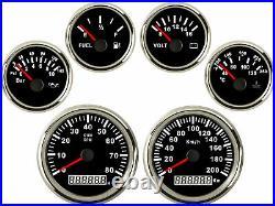 6 Gauge Set Black 200KPH Speedo Tacho Fuel Volt Meter Oil Pressure Temp Red Bulb