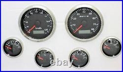 6 Gauge Set Electronic + Gps Speedo Sender Black Hot Rod, Ford, Chev, Holden