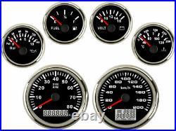 6 Gauge Set Speedo 200KPH Odo Trip/Cog Tacho Fuel Volt Oil pressure Temp Red Led