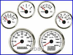 6 Gauge Set Speedo 200KPH Tacho Fuel Volt Meter Oil pressure Temp White Red Bulb