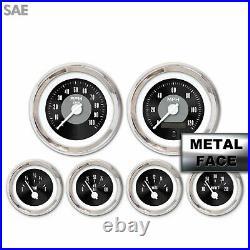6 Gauge Set Speedo Tach Oil Temp Fuel Volt Black Face White Chrome LED 043-WC LS