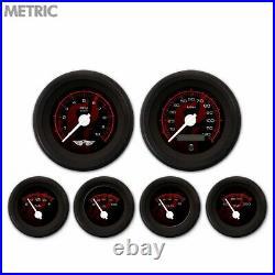 6 Gauge Set Speedo Tach Oil Temp Fuel Volt Ghost Flame Black Red White LED