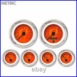 6 Gauge Set Speedo Tach Oil Temp Fuel Volt Ghost Flame Red Black LED Metric LSX