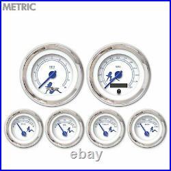 6 Gauge Set Speedo Tach Oil Temp Fuel Volt Metric Mudflap Black Text White LED