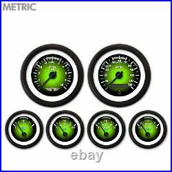 6 Gauge Set Speedo Tach Oil Temp Fuel Volt Metric Pulsar Green Black LED 043