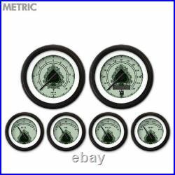 6 Gauge Set Speedo Tach Oil Temp Fuel Volt Metric Spade Series triple Black LED