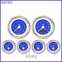 6 Gauge Set Speedo Tach Oil Temp Fuel Volt Pinstripe II Blue White LED Metric LS