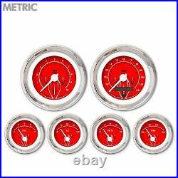6 Gauge Set Speedo Tach Oil Temp Fuel Volt Pinstripe II Red White Chrome Metric
