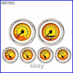6 Gauge Set Speedo Tach Oil Temp Fuel Volt Puma 5 Series Black Chrome LED Metric