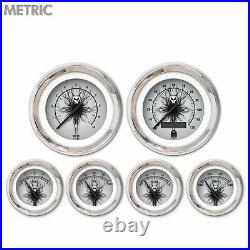 6 Gauge Set Speedo Tach Oil Temp Fuel Volt Skull Series Black chrome LED Metric