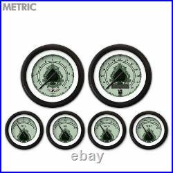 6 Gauge Set Speedo Tach Oil Temp Fuel Volt Spade Black Series LED 043-WC Metric