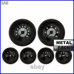 6 Gauge Set Speedo Tach Oil Temp Fuel Volt Triple Black V Needles LED 043-WC SA