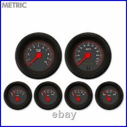 6 Gauge Set Speedo Tacho Oil Temp Fuel Volt Omega Black Red LED Metric Blk Trim