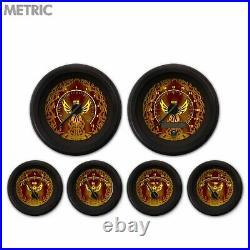 6 Gauge Set Speedo Tacho Oil Temp Fuel Volt Phoenix Series Black BLK LED Metric