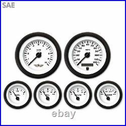 6 Gauge Set Speedo Tacho Tach Oil Temp Fuel Volt Classic SAE Black Modern LED RT