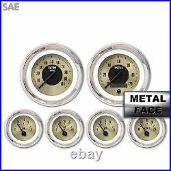 6 Gauge Set Speedo Tacho Tach Oil Temp Fuel Volt Gold Face Black Chrome LED LSX