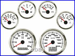 6 Gauge Set With Senders, 120KPH Speedo Tacho Fuel Volts Oil Pressure Temp White