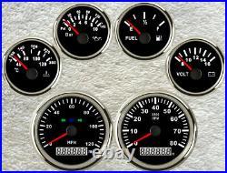 6 Gauge Set With Senders, 120MPH Speedo, Tacho, Fuel, Temp, Volt, Oil Pressure Red LED