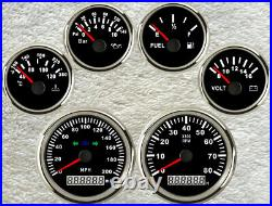 6 Gauge Set With Senders, 200MPH Speedo, Tacho, Fuel, Temp, Volt, Oil Pressure Black