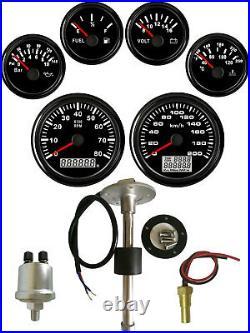 6 Gauge Set With Senders Speedo Tacho Fuel Volt Meter Oil pressure Temp Black