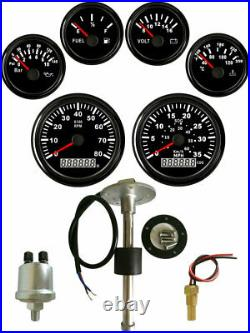 6 Gauge Set with Sender 35MPH 60KPH Cog Speedo Tacho Fuel Volt Oil Pressure Temp