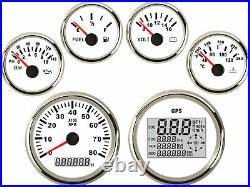 6 Gauge Set with Sender, Speedo Odo Trip Tacho Fuel Volts Oil Pressure Temp White