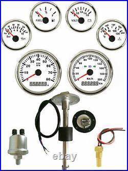 6 Gauge Set with Senders 200KPH Speedo Tacho Fuel Volt Oil Pressure Temp White