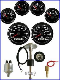 6 Gauge Set with Senders, 200MPH 300KPH Speedo Tacho Fuel Volt Oil Pressure Temp