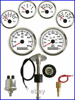 6 Gauge Set with Senders 300KPH 200MPH Speedo Tacho Fuel Volts Oil Pressure Temp