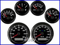 6 Gauge set, 200KM/H Speedo with Signal Lights, Tacho Fuel Volts Oil Pressure Temp
