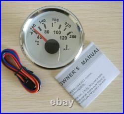 6 Gauge set, 200MPH 300KPH Speedo ODO, Tacho, Fuel Volts Oil Pressure Temp White