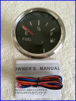 6 Gauge set, 200MPH 300KPH Speedo, Tacho, Fuel Level, Temp, Volts, Oil Pressure Black