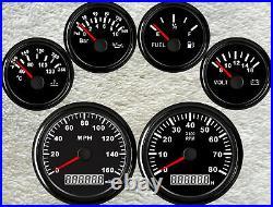 6 Gauge set, 85MM 160MPH GPS Speedo, Tacho, Fuel Level, Water Temp, Volt, Oil Pressure