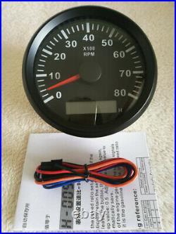 6 Gauge set, 85MM GPS 35MPH 60KPH, Speedo, Tacho, Fuel, Temp, Volts, Oil Pressure Black