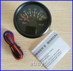 6 Gauge set, Black 160MPH Speedo Tacho Fuel Volt Meter Oil Pressure Temp Red LED