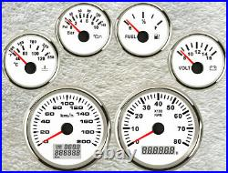 6 Gauge set, GPS 200KPH Speedo, Odo Trip Tacho, Fuel, Temp, Volt, Oil Pressure White