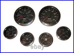 6 Gauge set, Speedo, Tacho (8KRPM), Oil, Temp, Fuel, Volt, black/chrome, 001BC