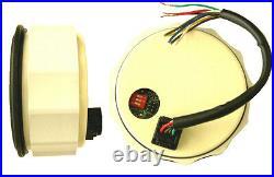 6 Gauge set, Speedo, Tacho (8KRPM), Oil, Temp, Fuel, Volt, white/chrome, 001WC