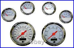 6 Gauge set, Speedo, Tacho, Oil, Temp, Fuel, Volt, white/chrome, blue LED, 043-WC