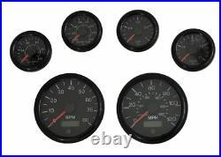 6 Gauge set black withsenders, Speedo, Tacho, Oil, Volt, Fuel, Temp gauges, 001BB-S