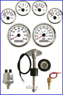 6 Gauge set with Sender, 200MPH 300KPH Speedo Tacho Fuel Volt Oil Pressure Temp