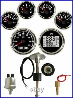 6 Gauge set with Sender, Odo Trip Speedo Tacho Fuel Volt Oil Pressure Temp Black