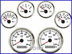 6 Gauge set with Senders 120KPH Speedo Tacho Fuel Volt Oil Pressure Temp Red Led