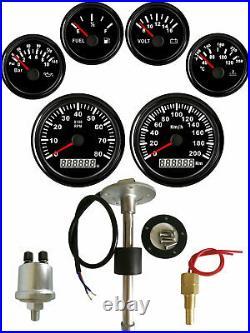 6 Gauge set with Senders 200KM/H Speedo Tacho Fuel Volts Oil Pressure Temp Black