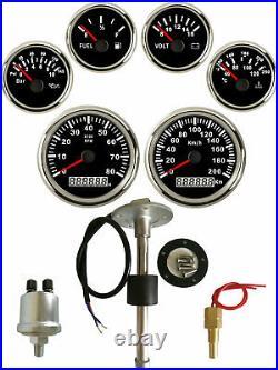 6 Gauge set with Senders, 200KPH Speedo Tacho Fuel Volts Meter Oil Pressure Temp