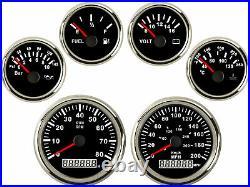 6 Gauge set with Senders, GPS 200MPH 300KPH Speedo Tacho Fuel Volt Oil Temp Black